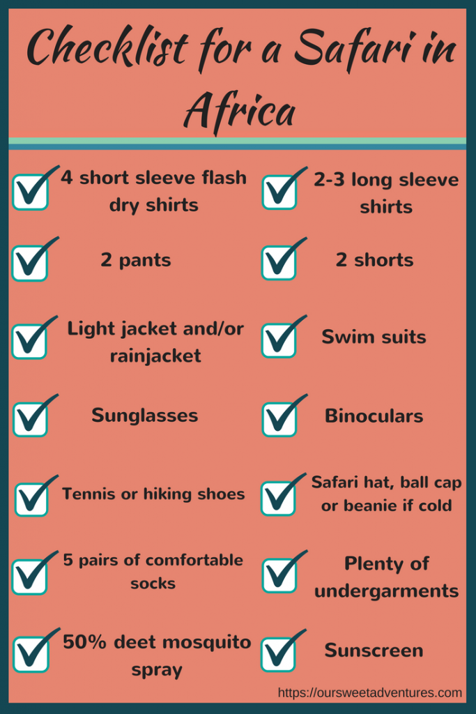 Packing check list for your safari attire in Africa